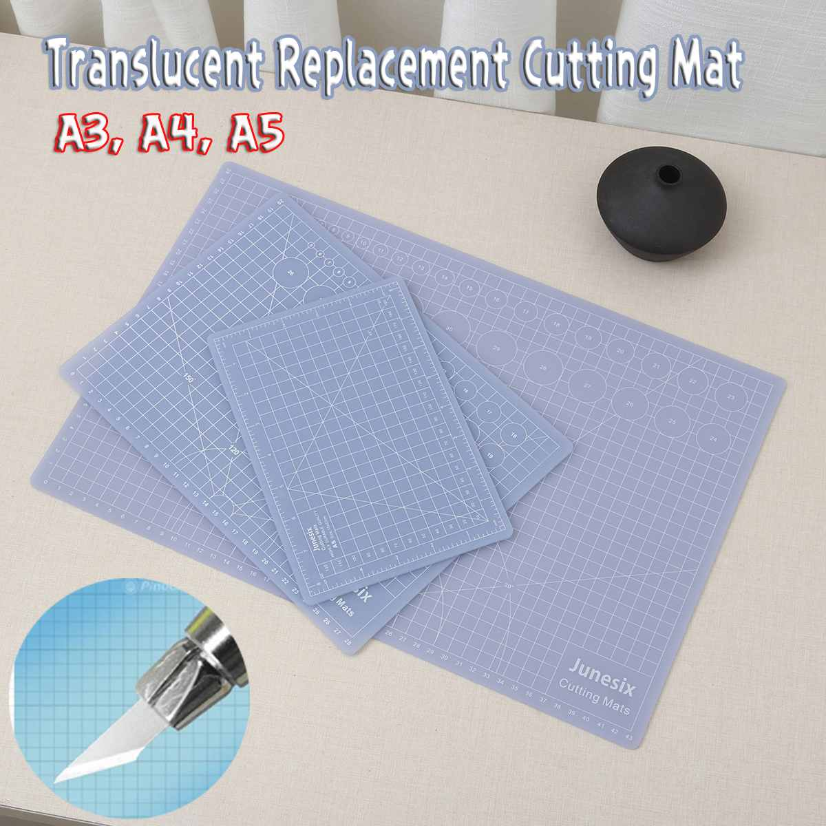Composite PVC A3/A4/A5 Replacement Cutting Mat Transparent Mat With Measuring Grid For Silhouette Cameo Plotter Machine