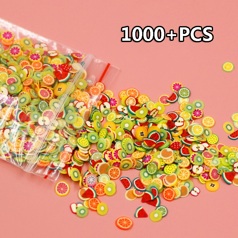 1000PCS DIY Decor Fruit Animal Cake Polymer Clay Toy Slime Accessories Decoration Jelly Mud Hand Gum Polyer Clay Toys Gift