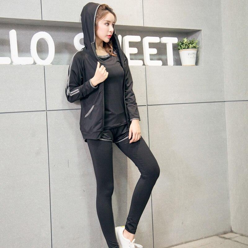 Conjunto de Yoga mujer Fitness correr ejercicio transpirable Rosa Sujetador deportivo + medias + corto + camisa + chaleco + chaqueta traje deportivo de talla grande de 6 piezas - 3