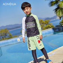 AONIHUA Boys Letter Swimsuit Children Swimwear Prodection Sunscreen Rash Guards Baby Surf Clothing 1050