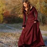 2018 Women Vintage Medieval Dress Cosplay Costume Princess Renaissance Gothic Dress Vestidos