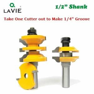 """Image 4 - Set di frese LAVIE 2 pezzi 12mm 1/2 """"con codolo e porta interna, Set di frese abbinata per macchina per la lavorazione del legno 03123"""