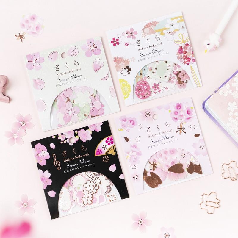 32 Pcs/pack Colorful Cherry Sakura Bullet Journal Decorative Stationery Stickers Scrapbooking DIY Diary Album Stick Label