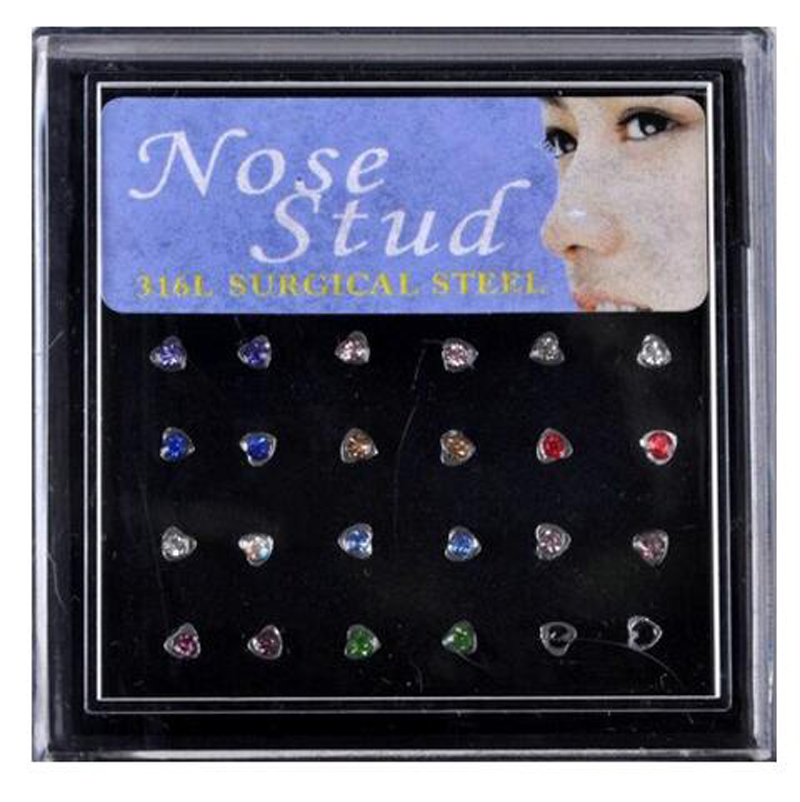 Us 2 88 24piece Free Display Box Silver 316l Stainless Steel 20g Straight Barbell Nostril Crystal Heart Nose Ring Body Piercing Jewelry In Body