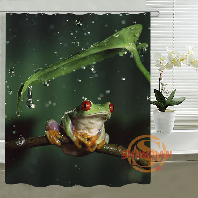 Green Frog Shower Curtain Personalized Custom Bath Waterproof Polyester For Family