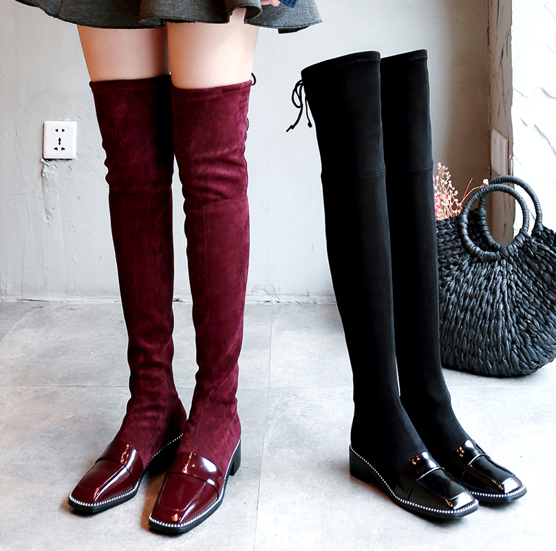 Stylish Rivets Embellished Women Boots Suede Long Booties Back Butterfly Knot Decor Over Knee Boots Square Toe Low Heel Shoes цена