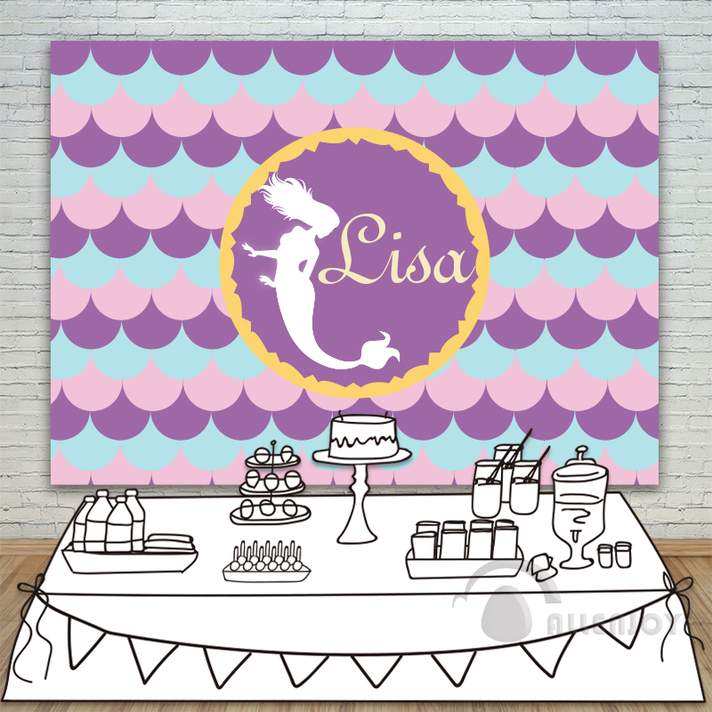 Girls Birthday Beauty and fish Prince backdrops Baby Shower photography Background celebration Party Allenjoy Personalized allenjoy backdrops baby shower background pink stripe rose gold circle birthday invitation celebration party customize