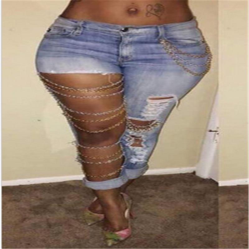 2017 Women Sexy Big Hole Straight Jeans Female High Waist Ripped Hole Knee Beggar Denim mesh Trousers mori girl brand W