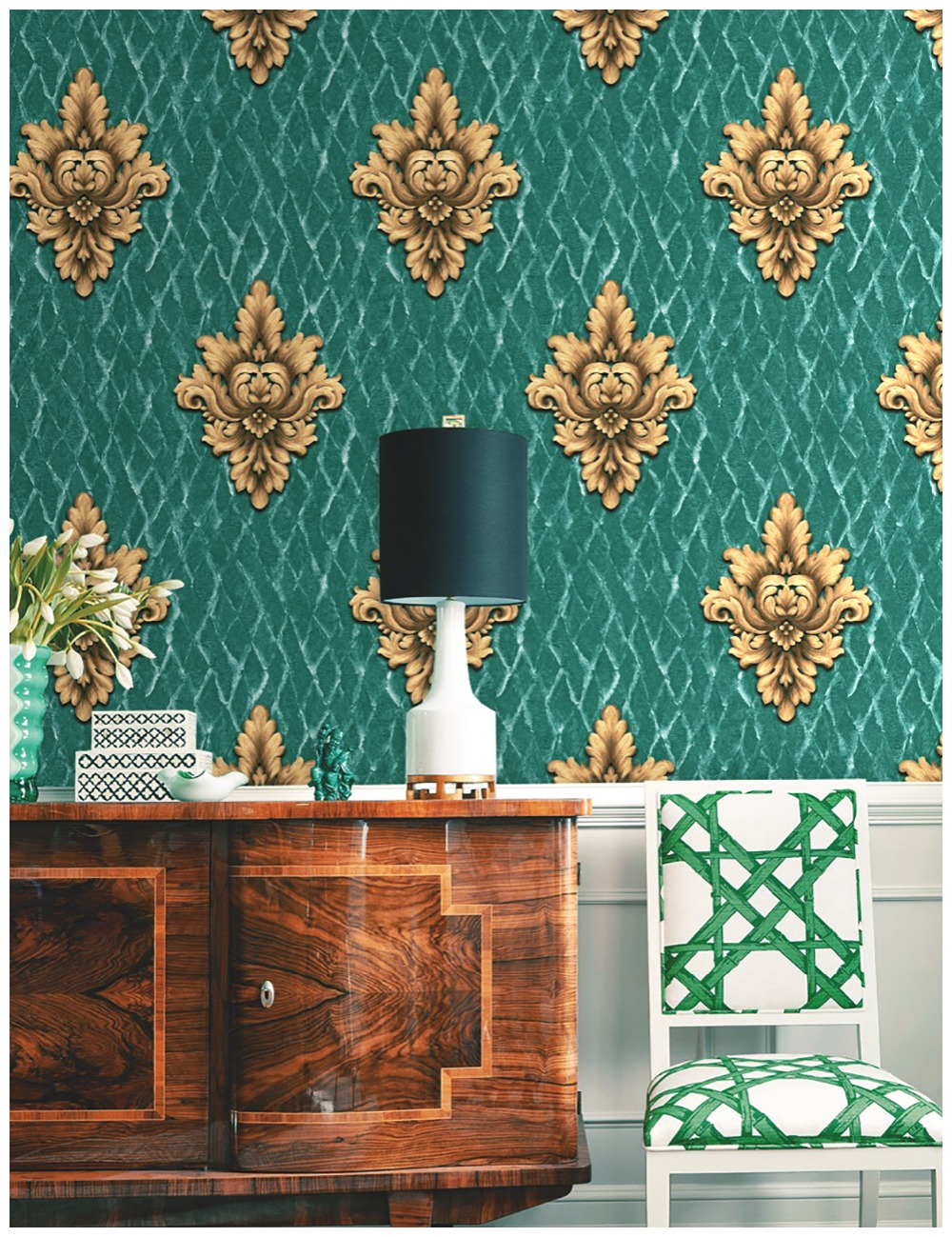 Haokhome Vintage French Damask Wallpaper 0 53m 10m Floral Contact