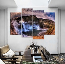Canvas Painting Modern Home Decoative Wall Art Forest Waterfall Rocks Sky Landscape Picture Top-Rated Print 4 Piece Style