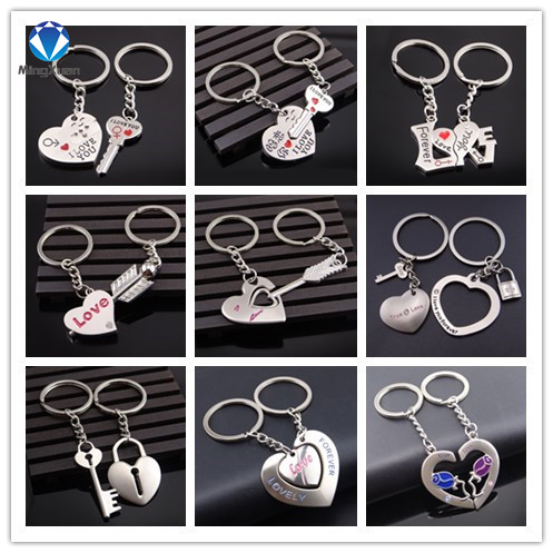 MINGXUAN 1Pair Couple Keychain Key Ring Silver Plated Lovers Love Key Chain Souvenirs Valentine's Day Gift 9 Styles