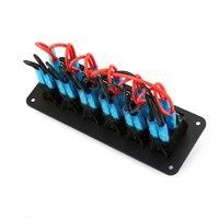 12V/24V 6 Gang Rocker Switch for Car Marine Boat Circuit Breakers Overload Protected LED Light Rocker Switch Panel Circuit