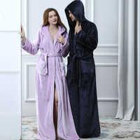 Amoureux thermique à capuche extra Long flanelle peignoir femmes hommes épais chaud hiver Kimono Robe de bain Robes de demoiselle d'honneur Robe de chambre
