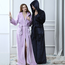 Lovers Thermal Hooded extra Long Flannel Bathrobe Women Men Thick Warm Winter Kimono Bath Robe Bridesmaid Robes Dressing Gown cheap RUILINGSHA Polyester Coral Fleece Flannel Coral Fleece Solid Ankle-Length Women Men Winter Night Dress Hooded ROBE Long