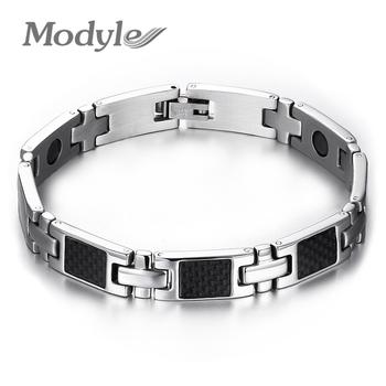 Gorąca sprzedaż mężczyzn bransoletki magnetyczne i bransoletki dla mężczyzn biżuteria opieki zdrowotnej z włókna węglowego ręcznie bransoletki bransoletki darmowa wysyłka tanie i dobre opinie Modyle Hologram bransoletki Unisex STAINLESS STEEL Moda TRENDY Metal Link łańcucha Wszystko kompatybilny GEOMETRIC 80409