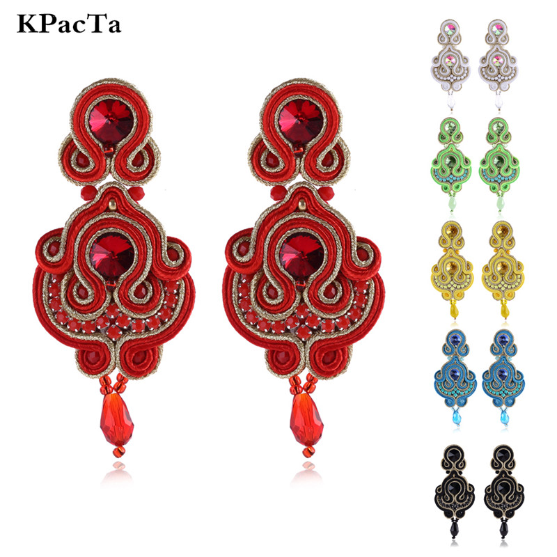 KPACTA Fashion Simplicity Ethnic Hanging Earring Jewelry For Women Rhinestone Soutache Handmade Process Drop Earring OorbellenKPACTA Fashion Simplicity Ethnic Hanging Earring Jewelry For Women Rhinestone Soutache Handmade Process Drop Earring Oorbellen