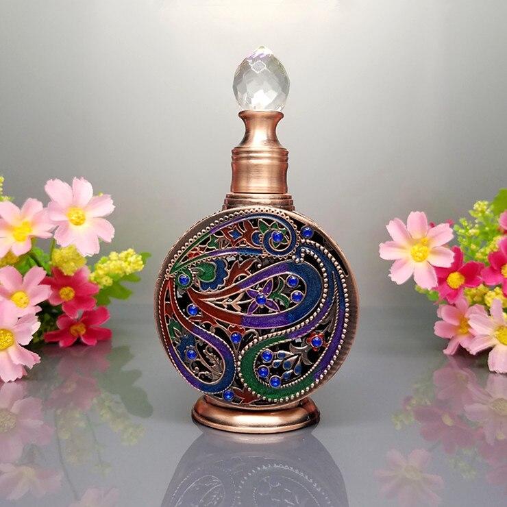 Perfume Dropper,Vintage Empty Mini Refillable Perfume Bottle,Ancient Egyptian Style Enameled Metal And Glass Perfume Bottle