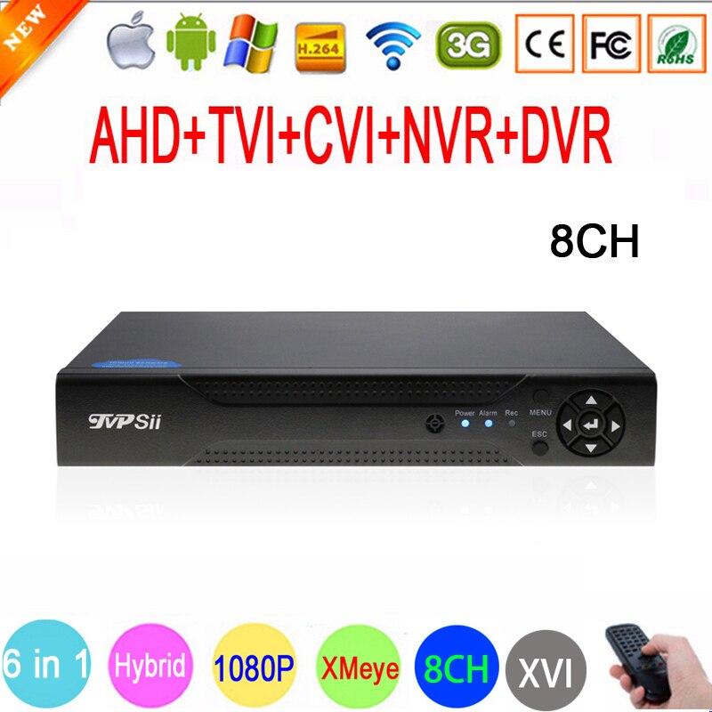 1080 P, 960 P, 720 P, 960 H видеонаблюдения Камера 1080n 8-канальный 8ch видео Регистраторы гибрид 6 в 1 WI-FI XVI NVR TVI CVI AHD видеорегистратор видеорегистратор сис...