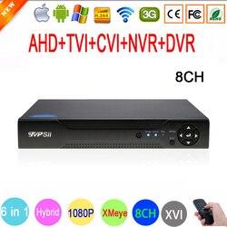 1080 p, 960 p, 720 p, 960 h cctv câmera 1080n 8 canal 8ch híbrido 6 em 1 wifi xvi nvr tvi cvi ahd dvr gravador de vídeo de vigilância