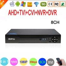 1080 p, 960 p, 720 p, câmera de CCTV 960 H 1080N 8 Canal 8CH 6 no XVI 1 WI-FI NVR Híbrido CVI TVI AHD DVR Vigilância gravador de vídeo