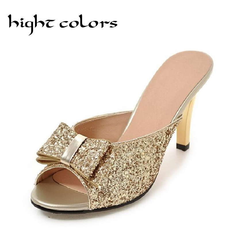 Ladies Sandals Summer Open Toe Slippers Party Sandals Female Plus Size Women's Shoes Bow Paillette Sexy High-Heels Sandals summer women leather high heeled shoes sandals rhinestone pump sandals ladies open toe slippers plus size 33 41
