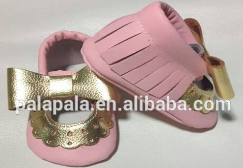 2016 new designs pink mary jane Genuine Cow Leather Baby Moccasins bow Soft Shoes Newborn first walker Anti-slip Infant Shoes
