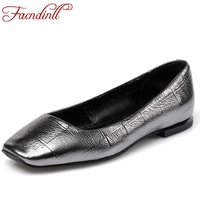 FACNDINLL Genuine Leather Women Ballet Flats Ladies Casual Dress Shoes New Spring Sutumn Leather Loafers Black