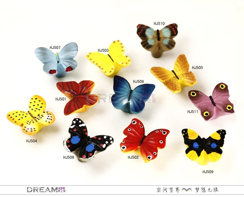 10 styles Butterfly series cabinet knob for kids, Resin dresser ...