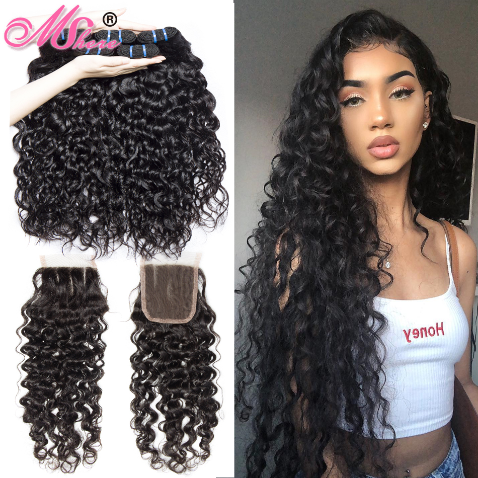 Brazilian Human Hair Weave 3 Bundles With Closure Water Wave Hair Lace Closure With Hair Bundles