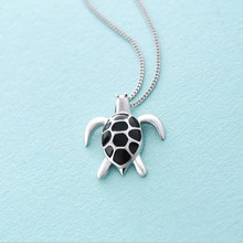New Arrival Creative Popular 925 Silver Jewelry Female Lovely Turtle Shape Clavicle Chain Pendant Necklaces  H314
