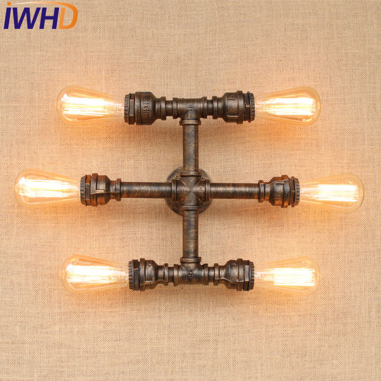 IWHD Loft Style Retro Iron Water Pipe Lamp Industrial Edison Wall Sconce Creative Vintage Wall Light Fixtures Indoor Lighting