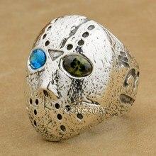 Halloween Jason Mask Blue + Green CZ Eyes 925 Sterling Silver Mens Boys Biker Rock Punk Ring 9D404 US Size 7~15