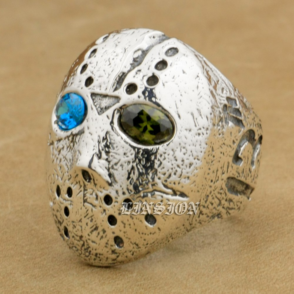 купить US Size 8 ~ 15 Blue + Green CZ Eyes 925 Sterling Silver Halloween Jason Mask Mens Boys Biker Rock Punk Ring 9D404
