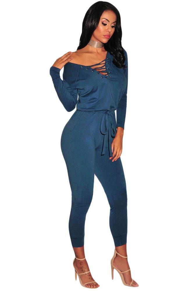 Blue-Grommet-Lace-Up-Long-Sleeve-Jumpsuit-LC64223-5-2