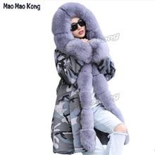 Hot 2017 Fashion Genuine Fur winter Parka 100 Real rabbit fur liner Long Coat Female Trend