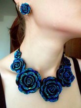 Súprava šperkov Veľké MODRÉ KVETY Jewelry set BIG BLUE FLOWERS