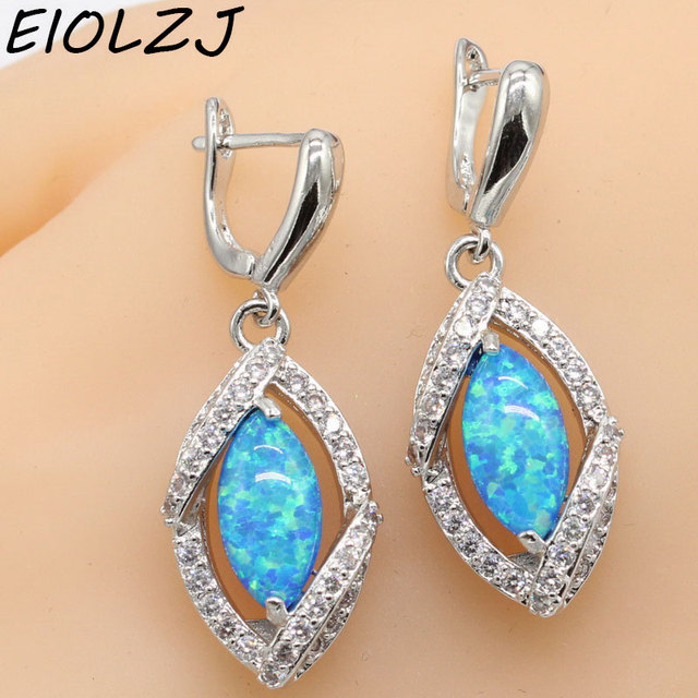 Eiolzj 925 Sterling Silver Royal Blue Fire Australia Opal Dangle Earrings For Women Bridal Free Jewelry