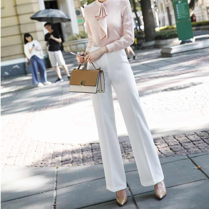 Fashion White Wide Led Pants Spring Fall Trendy Leggings Pants Female Trousers Capris Office Ladies Uniform Styles Business Wear