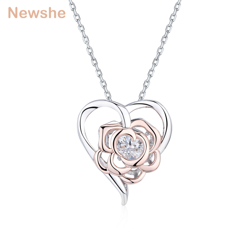 Newshe Heart Shape Dancing Stone Pendant Come With 925 Sterling Silver Chain White and Rose Gold Color Women's Romantic Jewelry 2018 aliexpress silver 925 gold color love heart wing chain pendant