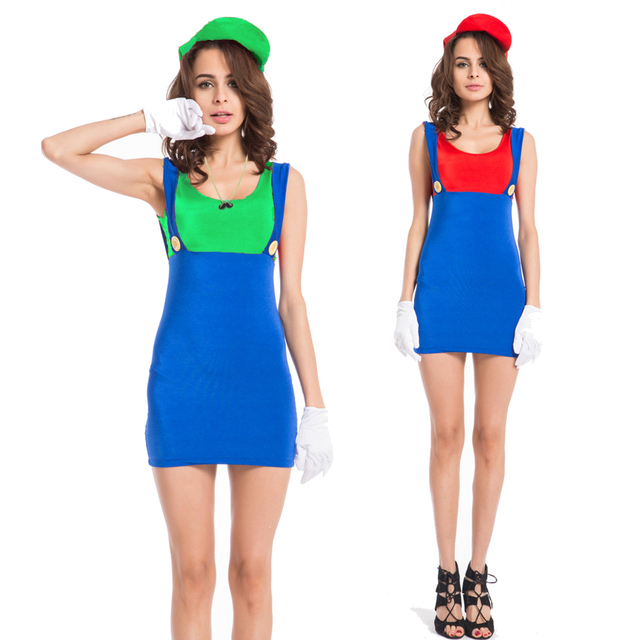 3aa0a001a132a US $16.99 |Free shipping Ladies Costume Fancy Dress Up Mario Brothers Red  Green Luigi with necklace S M L XL 2XL 3XL 4XL -in Sexy Costumes from ...