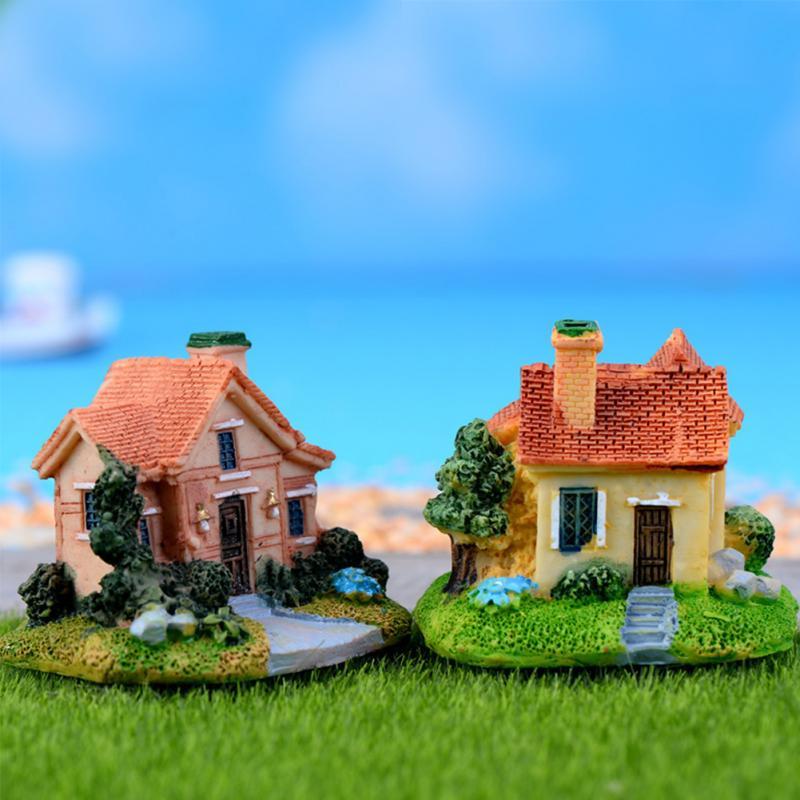 Vintage Mini Resin House Miniature House Fairy Garden Micro Landscape Home Garden Decoration DIY Crafts Villas Ornament Decor