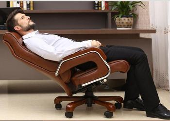 Home computer chair reclining lift boss chair leather swivel chair fixed armrest leather art office chair.