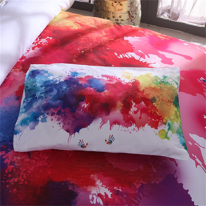 Image 3 - Colorful Bedding Set Watercolor splash Quality Cover Home King Queen Size Soft White Duvet Cover and Pillowcase-in Duvet Cover from Home & Garden
