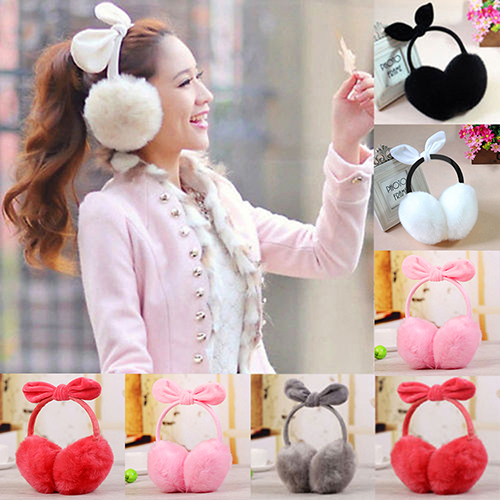Women Fashion Rabbit Ear Faux Rabbit Fur Earmuffs Soft Warmer Winter Earwarmers