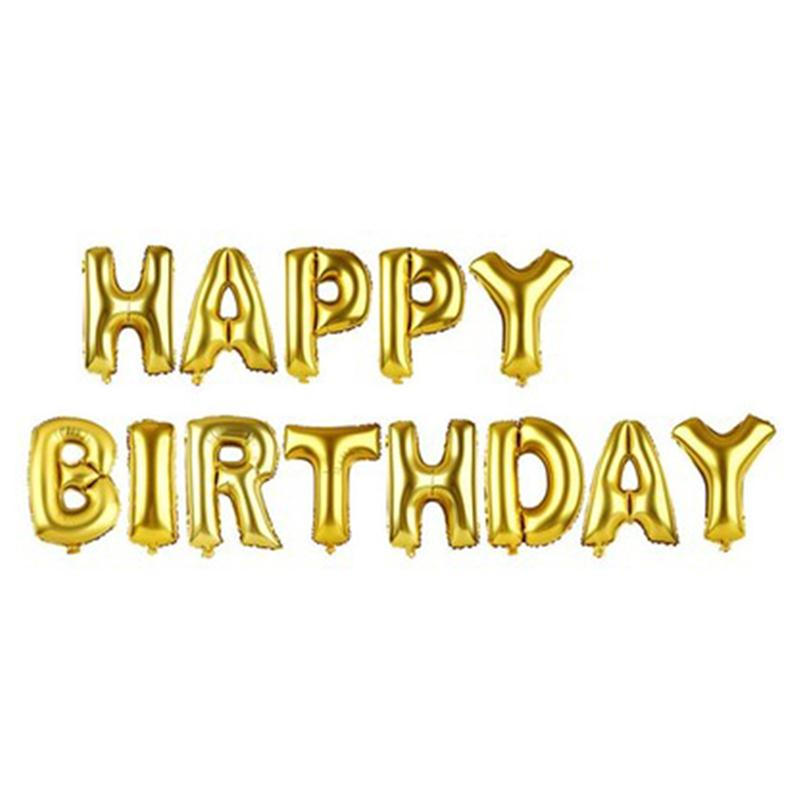 16inch Foil Balloons Letter Happy Birthday BALLOON Aluminum Foil Balloon Baby Birthday Party Decoration Alphabet Helium Balloon