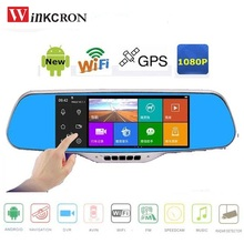 7 0 Touch Car DVR Rearview Mirror Camera GPS Navigation FHD 1080P 170 degree lens Android