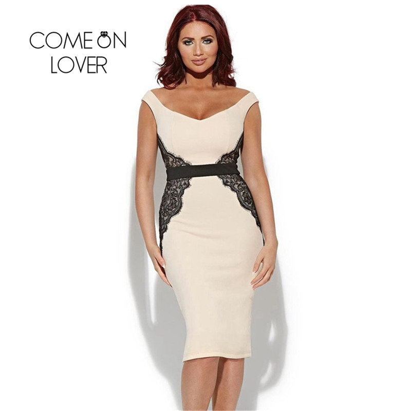 Buy Cheap Comeonlover Low Neck Sleeveless Casual Work Dress With Lace Plus Size Dresses RI70068 Summer Off Shoulder Bodycon Women Dresses