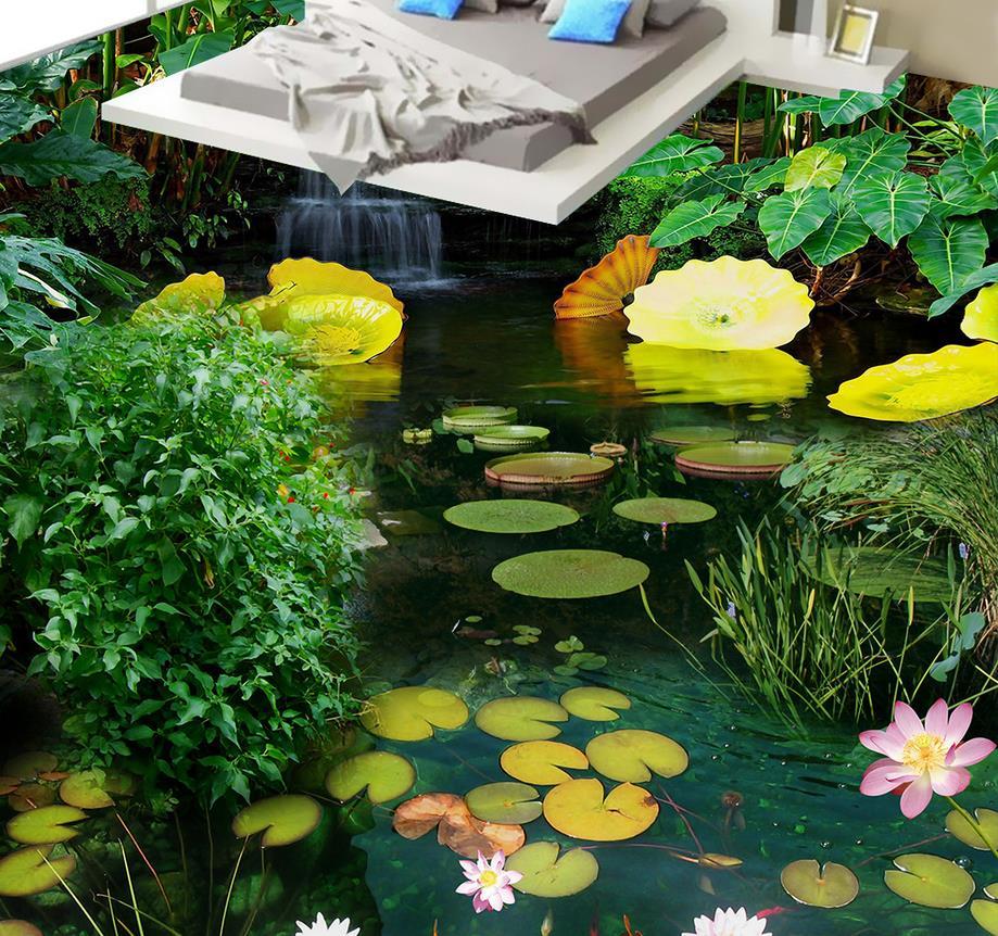ФОТО Custom Photo Floor Wallpaper 3D Stereoscopic Pond 3D floor 3D Mural PVC Wallpaper Self-adhesion Floor Wallpaer