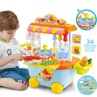 34pcs Pretend Play Baby Educational Cosplay Mini Kitchen Toys Set Kids Lovely Fast Food Car Flashing Music Creative Cooking Doll