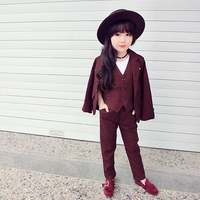 Baby Girls Clothes Set British style Blazer Set Tuxedo Suits for boys Jacket + Vest + Pants 3Pcs Formal Suit for Wedding Outfits